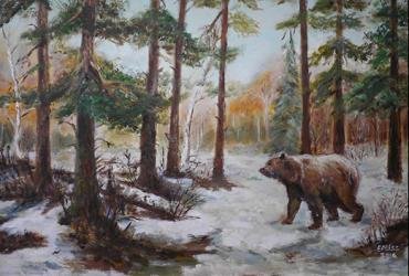 Painting of a bear in the woods during the winter