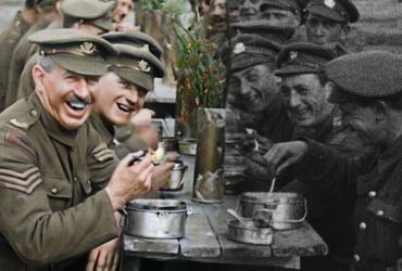 Soldiers sitting and eating together